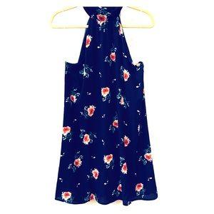 Navy floral halter dress